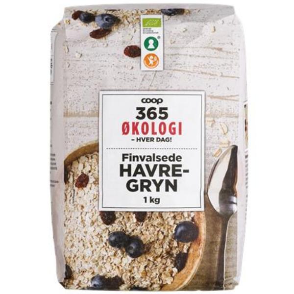 Kalorier i Coop 365 Økologi Finvalsede Havregryn