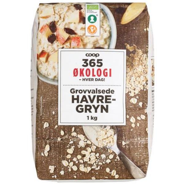 Kalorier i Coop 365 Økologi Grovvalsede Havregryn