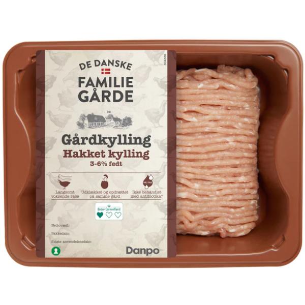 Kalorier i De Danske Familiegårde Gårdkylling Hakket Kylling 3-6% Fedt