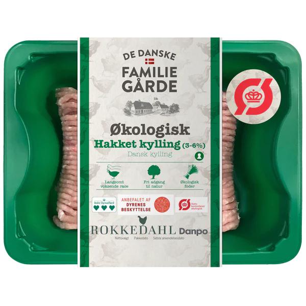 Kalorier i De Danske Familiegårde Økologisk Hakket Kylling 3-6%