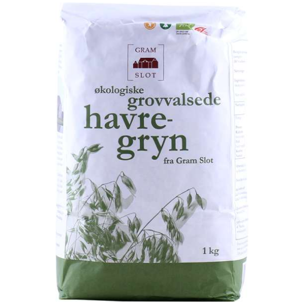Kalorier i Gram Slot Økologiske Grovvalsede Havregryn
