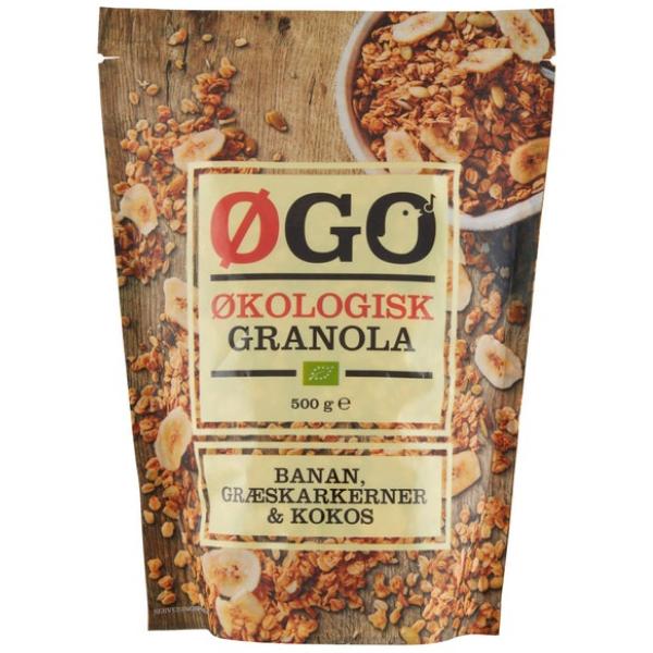 Kalorier i Øgo Økologisk Granola Banan, Græskarkerner & Kokos