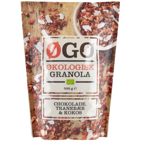 Kalorier i Øgo Økologisk Granola Chokolade, Tranebær & Kokos