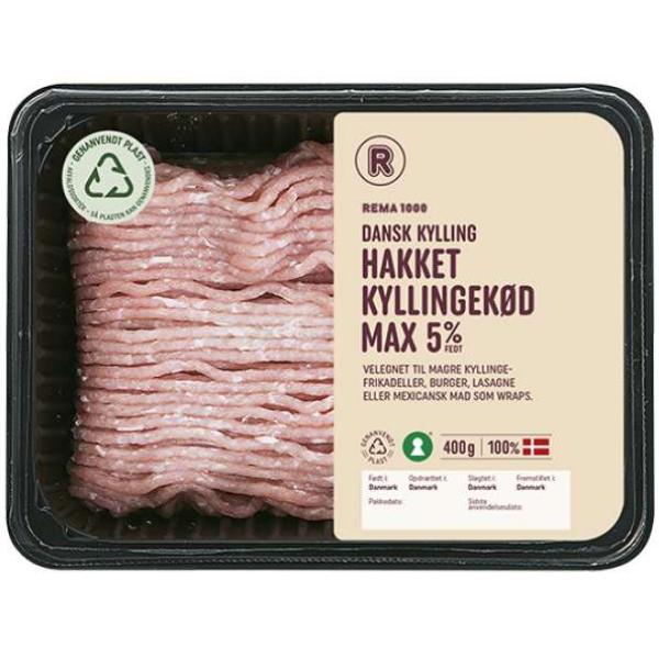 Kalorier i Rema 1000 Dansk Kylling Hakket Kyllingekød Max 5%
