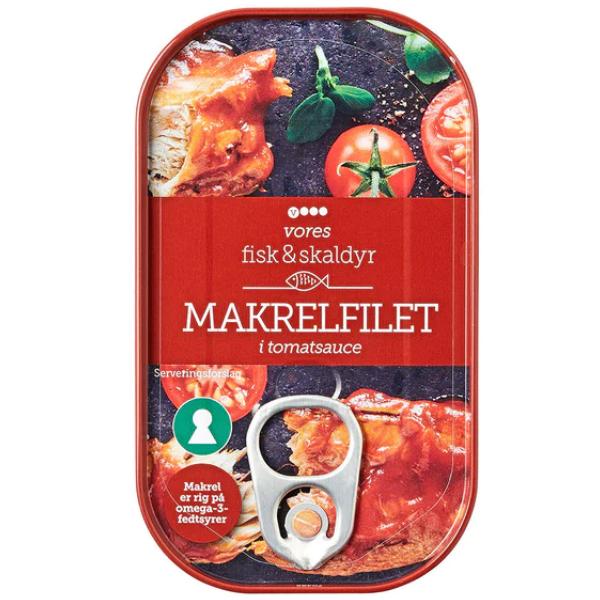 Kalorier i Vores Makrelfilet i Tomatsauce