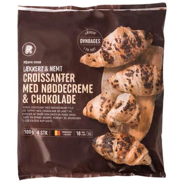 Kalorier i Rema 1000 Lækkert & Nemt Croissanter med Nøddecreme & Chokolade