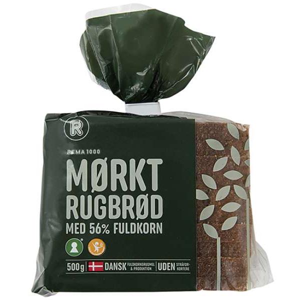 Kalorier i Rema 1000 Mørkt Rugbrød med 56% Fuldkorn