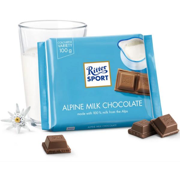 Kalorier i Ritter Sport Alpine Milk Chocolate