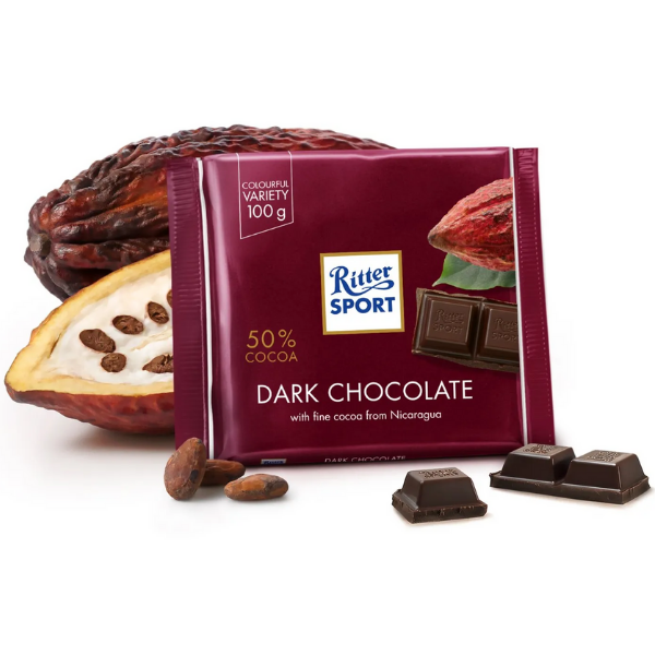 Kalorier i Ritter Sport Dark Chocolate 50% Cocoa